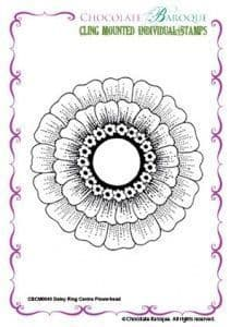Chocolate Baroque Daisy Ring Centre Flower Head Rubber Stamp